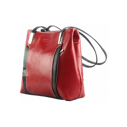 FLORENCE Schultertasche OTF120R Florence 2in1 Damen Schultertasche (Schultertasche - Cityrucksack), Damen Schultertasche, Cityrucksack Leder, rot, schwarz ca. 28cm x ca. 25cm