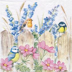 "Papierserviette ""Vögel auf dem Zaun"", 33 x 33 cm, 20 Stück"