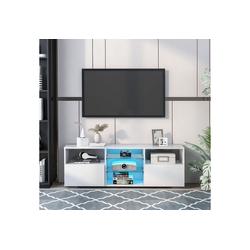 Gotui TV-Rack Fernsehschrank, Fernsehtisch mit LED Beleuchtung, 130cm