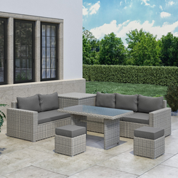 Rattan Reclining Garden Corner Sofa with Table Footstools and Box Set