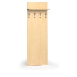 Garderobenwand, 4 kleiderhaken, birke