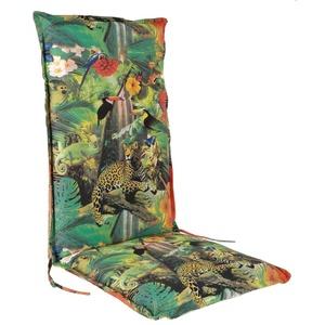 Spetebo Pflegeleichtes Polster für Hochlehner - Tropical - Gartenstuhl Auflage mit Haltegurt - Sitzkissen Stuhlauflage (Modell 11)