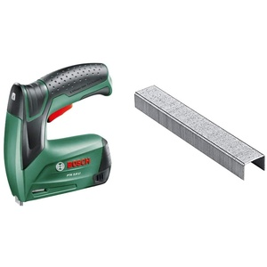 Bosch Akku Tacker PTK 3,6 LI (Integrierter Akku, 3,6 Volt, in Metalldose) & Home and Garden 2609255820 Tackerklammern, 8 mm