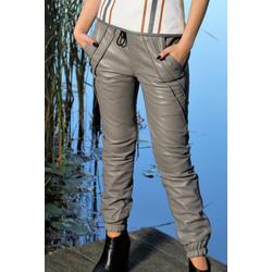 Lederhose Edel Style Jogginghose in ECHT-LEDER grau