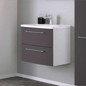 Waschtischunterschrank in Dunkelgrau und Weiß 60 cm breit