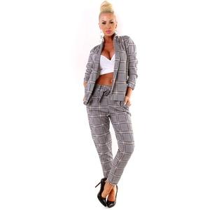 OSAB-Fashion 5423 Damen Hosenanzug Blazer Hose Business Karo Kariert Zweiteiler Slimfit Streetwear (grau-schwarz-Rot, 36/38)