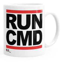 MoonWorks Tasse Kaffee-Tasse RUN CMD Nerd Geek Computer-Freak Tasse einfarbig MoonWorks®, Keramik