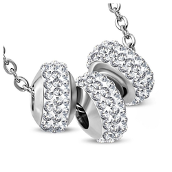 BUNGSA Kette mit Anhänger Kette drei Kristallbeads Silber aus Edelstahl (inkl. Schmuckbeutel aus Organza), Halskette Necklace Damen Herren Mädchen