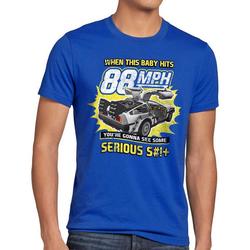style3 Print-Shirt Herren T-Shirt 88mph delorean zukunft delorean zurück in die future back to the blau 4XL