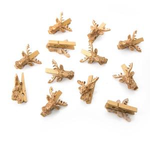 12 Stück kleine gold farbene Hirsch Dekoklammern Geweih jagdlich Zierklammern Hirschkopf Jagd Weihnachten Dekoration mini Wäscheklammern Holzklammern Deko Klammern für alle Feste - edel