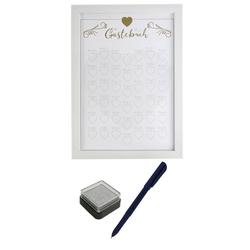 dynamic24 Bilderrahmen, Gästebuch Rahmen mit Fingerabdruck Stempelkissen Bilderrahmen Hochzeit Geschenk
