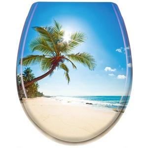 LZQ WC Sitz Toilettendeckel mit Absenkautomatik Toilettensitz Universal Größe Toilettensitz aus Hartplastik Antibakteriell Klodeckel aus Duroplast Strand