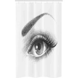 Abakuhaus Duschvorhang Badezimmer Deko Set aus Stoff mit Haken Breite 120 cm, Höhe 180 cm, Auge Bleistiftzeichnung Stil Kunst