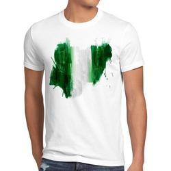 style3 Print-Shirt Herren T-Shirt Flagge Nigeria Fußball Sport Afrika WM EM Fahne weiß XXL