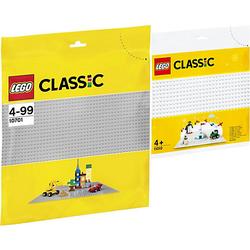 Classic 2er Set: 10701 Graue Bauplatte Grundplatte + 11010 Weiße Bauplatte bunt