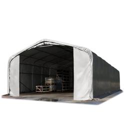 Toolport Zelthalle 6x12m PVC 720 g/m² grau wasserdicht Industriezelt