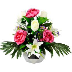 Kunstpflanze Rosen/Lilie, I.GE.A., Höhe 30 cm, Arrangement im Topf