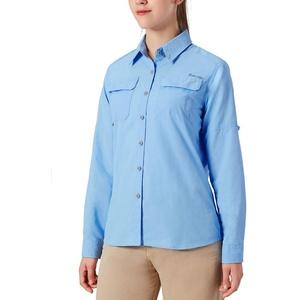 NAVISKIN Damen Bluse UPF 50+ Sonnenschutz Langarmbluse Outdoor Ultraleicht Wanderhemd schnelltrocknend Langarmshirt Hellblau Größe L
