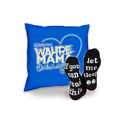 Soreso® Dekokissen Kissen Für meine wahre Mama & Sprüche Socken Sleep, Muttertagsgeschenk Mama Muttertag blau