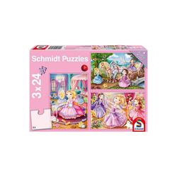 Schmidt Spiele Puzzle Kinderpuzzleset 3 x 24 Teile, Märchenhafte, Puzzleteile