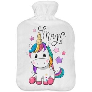 Wärmflasche mit Pullover Bezug 2 Liter Bettflasche mit schönen Fleece-Druck Bezug Gummi Wärmflasche mit Deckel Einhorn [092]