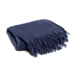 damai Alpaka Baumwolle Kuscheldecke Uni Blau Grau Loft 130x170 cm Blau