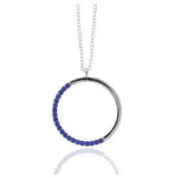 J & S JULIASS WELT Collier Collier Kreis mit Kristallsteinen, inkl. Schmucketui blau
