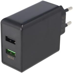 Dual-USB Schnellladegerät USB QC3.0 28W schwarz, lädt bis zu 4x schneller als Standardladegeräte