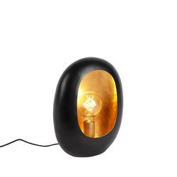 Design Tischlampe schwarz mit goldenem Interieur 36 cm - Cova