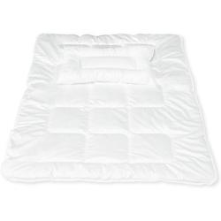 Kinder Bettdecke & Kissen Set Aloe Vera, Baumwolle, 100 x 135 cm und 40 x 60 cm weiß