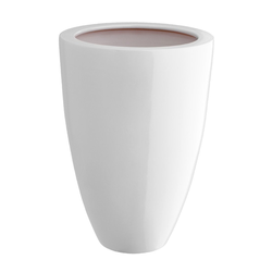 Dehner Übertopf Vase, konisch, glasierte Keramik weiß Ø 24,5 cm x 30,5 cm