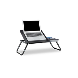 relaxdays Laptop Tablett Laptoptisch fürs Bett schwarz, MDF Platten