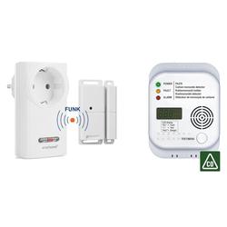 smartwares Rauch- und Hitzewarnmelder, FUNK SET: Fenster-Kontaktschalter für Dunstabzugshaube, Kamin & Steckschalter & CO-Melder