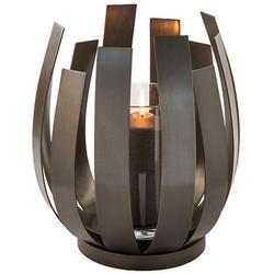Fink Windlicht ORFEA (1 Stück), aus Edelstahl inkl. Glaszylinder, verspielt und gradlinig braun Ø 28 cm x 30 cm