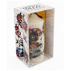 Horror-Shop Kerzenständer Stumpenkerze mit Tattoo Motiv im Vintage Style 14