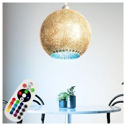 etc-shop LED Pendelleuchte, orientalische Pendelleuchte gold Mosaik Deckenlampe Lampe Esstisch hängend, Farbwechsel dimmbar Glas Kugel, 1x RGB LED 9 Watt 806 Lumen, D 30 cm