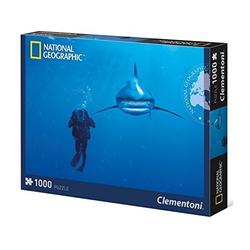 Clementoni® Steckpuzzle Clementoni National Geographic Puzzle Whitetip Hai 1000 Teile, 1000 Puzzleteile