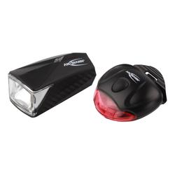 ANSMANN® Fahrradbeleuchtung LiteRider StVZO Fahrradlicht mit Front.- & Rücklicht, batteriebetrieben