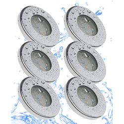 TRANGO LED Einbaustrahler, 6er Set IP44 LED Badeinbaustrahler 6729IP-068MOSD aus Edelstahl poliert in Rund incl. 6x Ultra flach 3 Stufen dimmbar LED Modul nur 3cm Einbautiefe für Bad, Außen, Deckenstrahler, Einbauspot