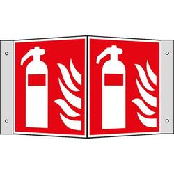 Brandschutzschild,Feuerlöscher,Winkelschild,Alu,langnachleuchtend,HxB 200x200mm