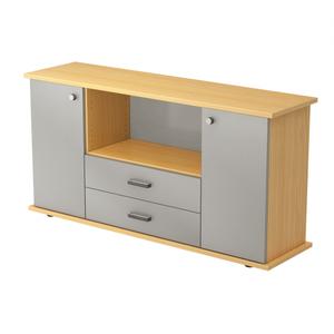 Hammerbacher Sideboard SB / 2 Türen und 2 Schubladen / Dekor: Buche/Silber / Griff: Streifengriff