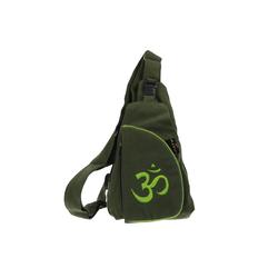 KUNST UND MAGIE Schultertasche Kunst und Magie Slingbag Hippie Goa Bodybag Schultertasche OM Rucksack Tagesrucksack grün