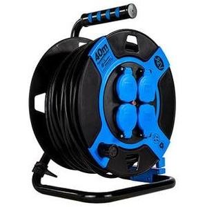 REV Kabeltrommel, Kunststoff, 4-fach, IP 44, 40 Meter, H05VV-F 3G1,5, Blau (0010117812)