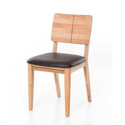 Holzstühle aus Kernbuche Massivholz Echtleder in Dunkelbraun (2er Set)