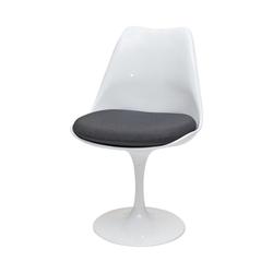 Krzesło Tul białe z szarą poduszką