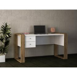 moebel17 Schreibtisch Schreibtisch Lord Weiß Walnuss