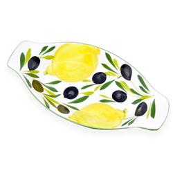 Lashuma Servierteller Zitrone Olive, Keramik, Obstschale handgemacht, Ovale Servierplatte 13 cm x 27 cm x 3 cm