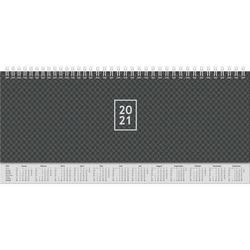 Querterminbuch 30x11cm 1 Woche/2 Seiten schwarz 2021