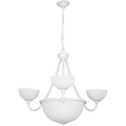 Licht-Erlebnisse Kronleuchter BARON, Kronleuchter Shabby Chic Gold Weiß Metall Glas Esstisch Lampe