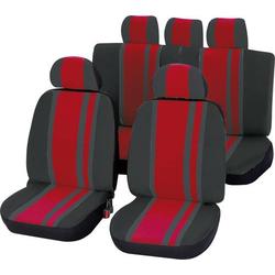 Unitec 84958 Newline Sitzbezug 14teilig Polyester Rot, Schwarz Fahrersitz, Beifahrersitz, Rücksitz